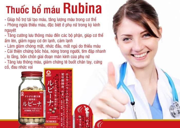 Viên uống bổ máu Rubina giúp tăng lượng máu, phòng ngừa và cải thiện tình trạng thiếu máu.